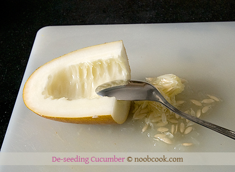De-seeding old cucumber