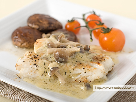 Codfish in Creamy Mushroom Sauce