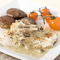 Cod Fish with Creamy Mushroom Sauce
