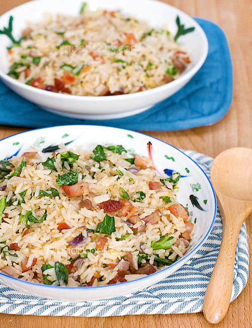 Egg Fried Rice with Char Siu and Baby Kailan