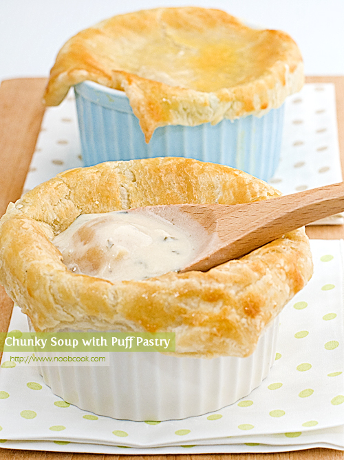 Chunky Soup with Puff Pastry