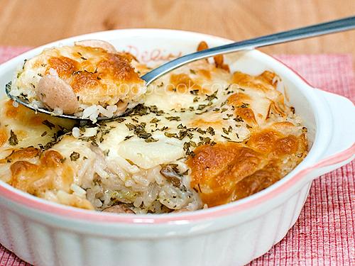 Broccoli, Potato & Sausage Baked Rice