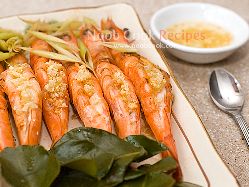 Steamed Prawns with Kaffir Lime Leaves and Lemongrass