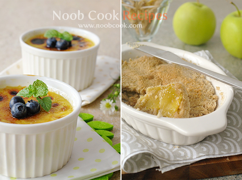 Creme Brulee and Apple Crumble