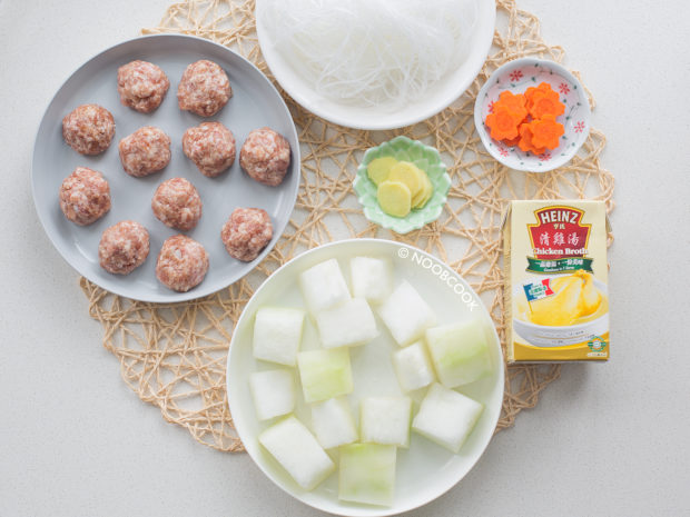 Winter Melon Soup with Pork Balls Ingredients