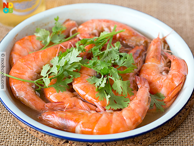 Beer Steamed Prawns