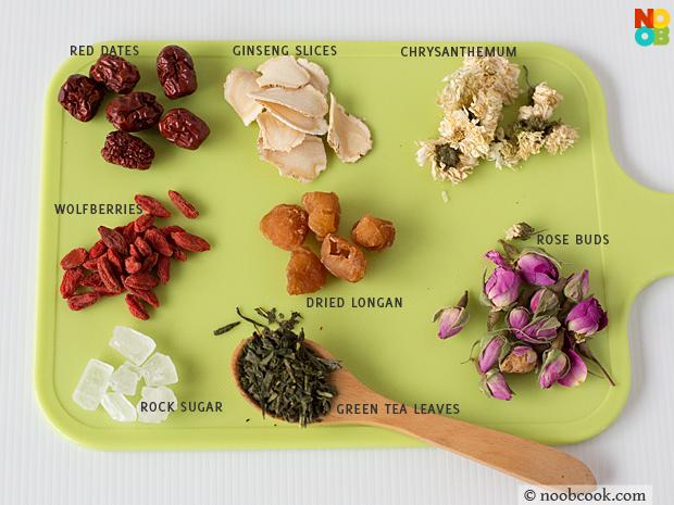 ingredients for eight treasure tea