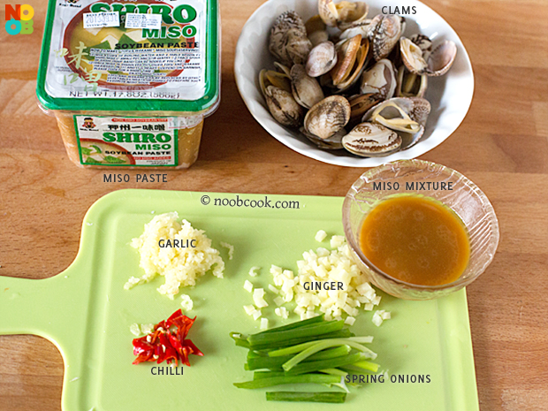 Ingredients for Miso Clams