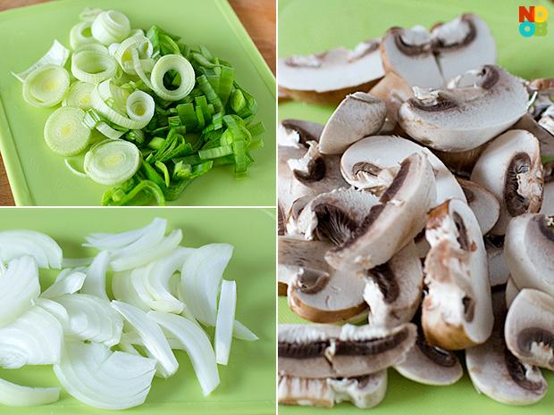 Leeks, Onions, Mushrooms