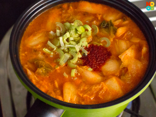 simmering kimchi soup