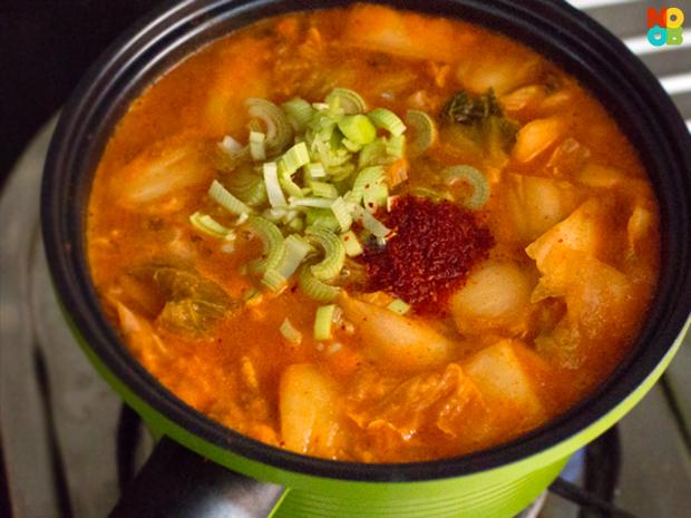 simmering kimchi soup