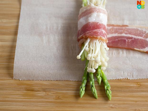 Bacon Wrapped Enoki & Asparagus Recipe