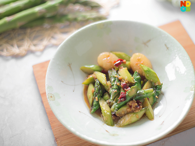 Stir-fried Asaparagus with Scallop Recipe