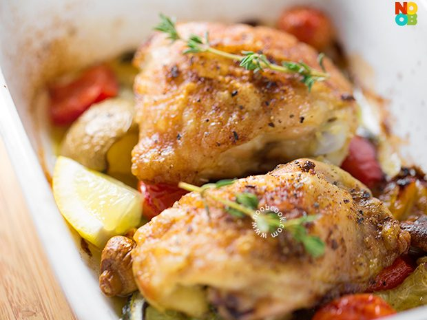 Baked Chicken Thighs on Bed of Vegetables Recipe