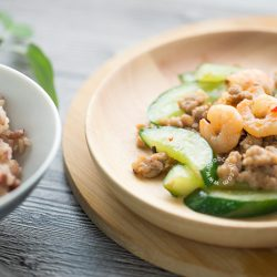 Stir-fry Cucumber, Mince & Prawn Recipe