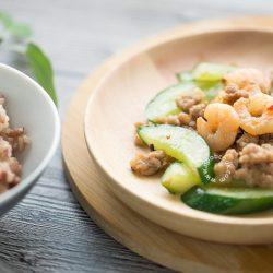 Stir-fry Cucumber, Mince & Prawn Recipe