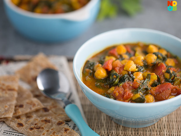 Curried Chickpeas, Tomato and Spinach Recipe