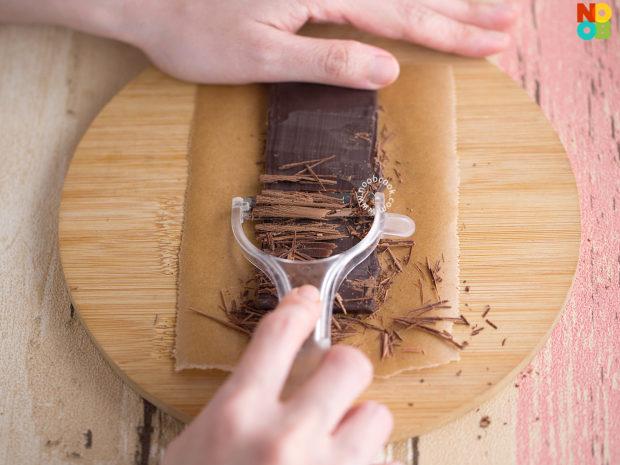 Chocolate Shavings using a vegetable peeler