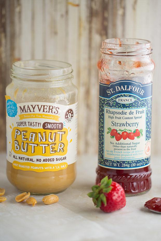 """PB&J"" - Creamy peanut butter and strawberry jam"