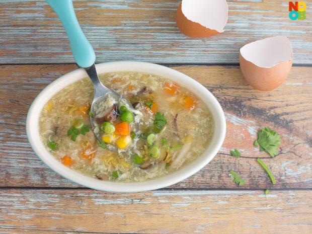 Mushroom Veggies Egg Drop Soup Recipe