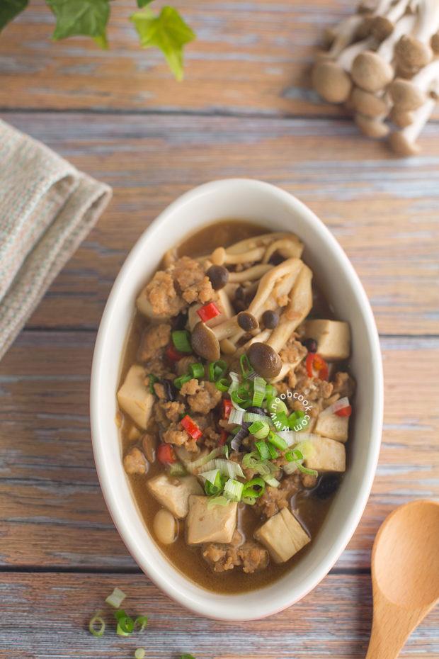 Simmered Tofu, Mince & Mushrooms Recipe