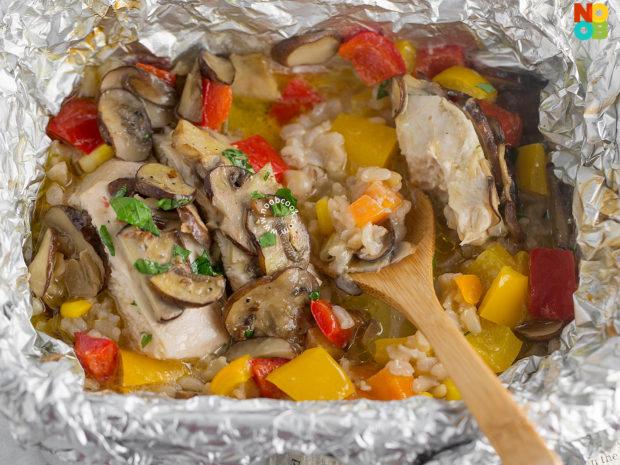 Chicken & Mushroom Foil Packet Recipe