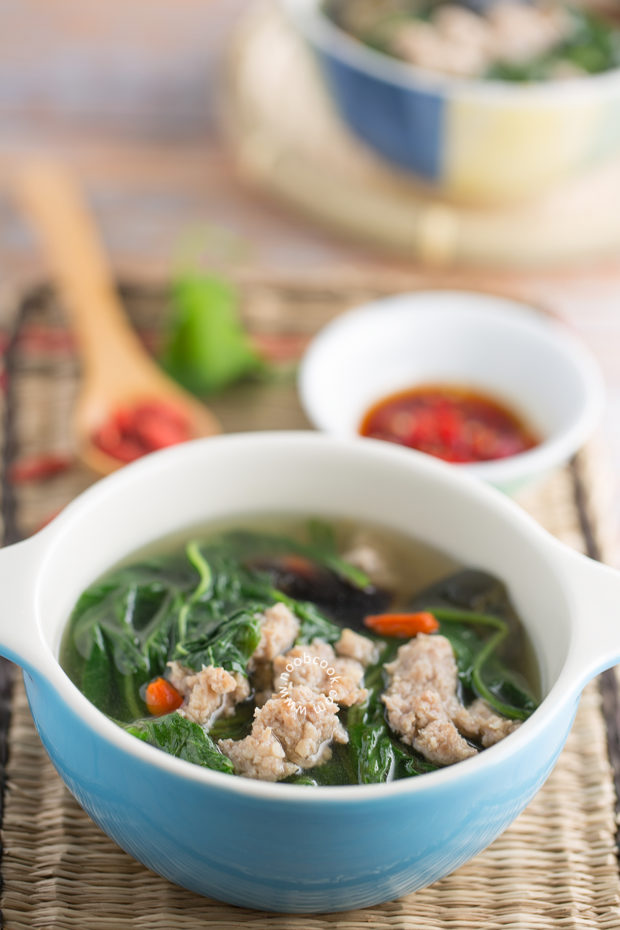Chinese Spinach, Pork & Century Egg Soup Recipe