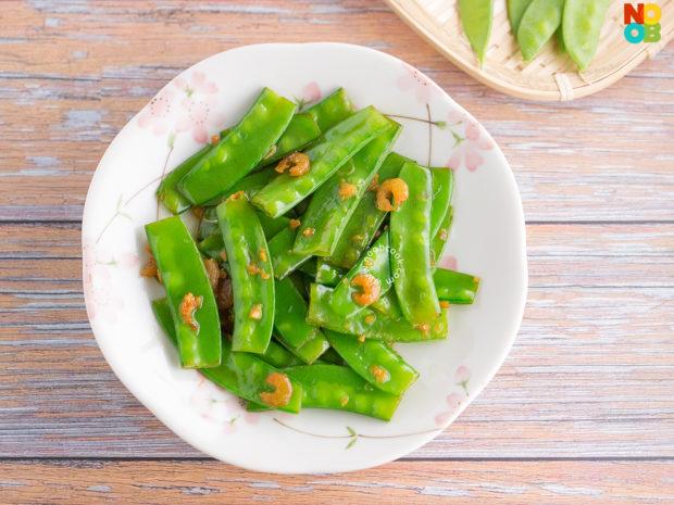 Stir-fried Snow Peas with Dried Shrimps Recipe
