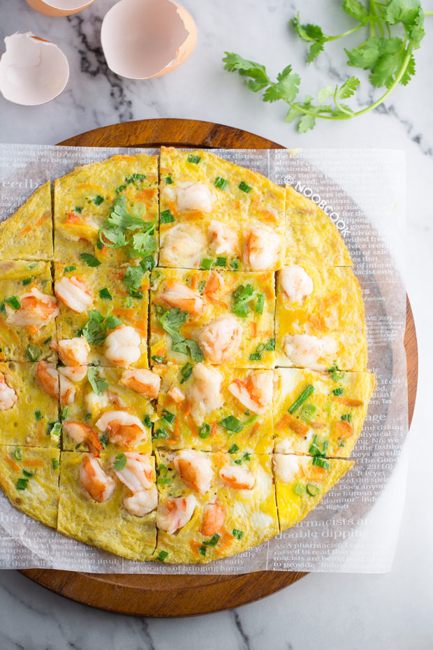 Open-Faced Prawn Omelette Recipe