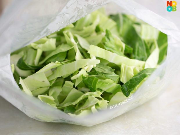 Round Cabbage Outer Leaves (Thinly Shredded)