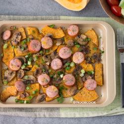 Sheet Pan Butternut Squash, Mushroom & Sausage Recipe