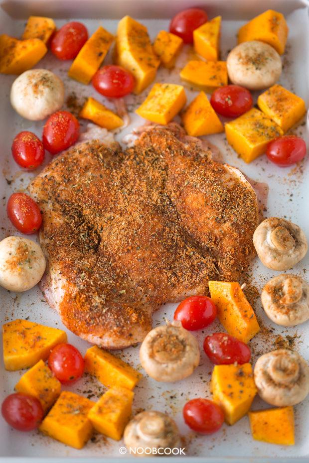 Sheet Pan Cajun Chicken Chop & Veggies Recipe