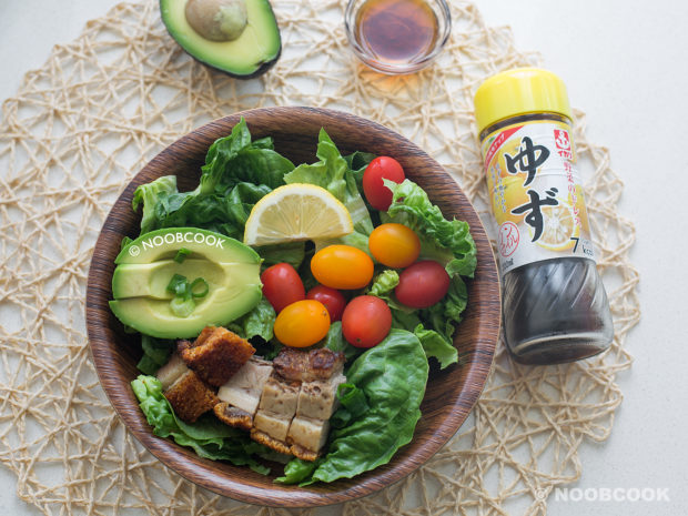 Crackling Roast Pork Salad Recipe (with Daiso Yuzu Dressing)