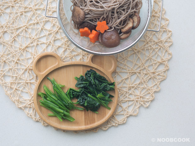 Ingredients (Soba, Dried Mushrooms, Carrots, Spinach)