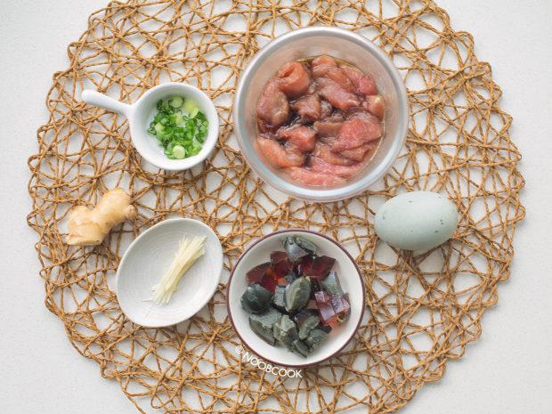 Pork & Century Egg Millet Porridge Ingredients