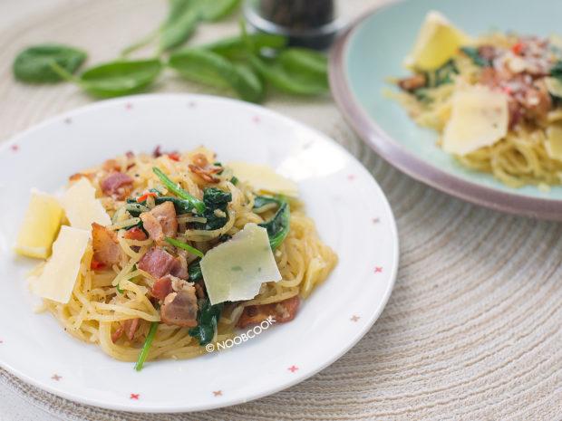 Low Carb Bacon Spinach Spaghetti Recipe