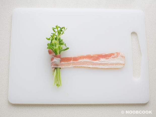 Simmered Bacon Wrapped Pea Shots  (How to Wrap)
