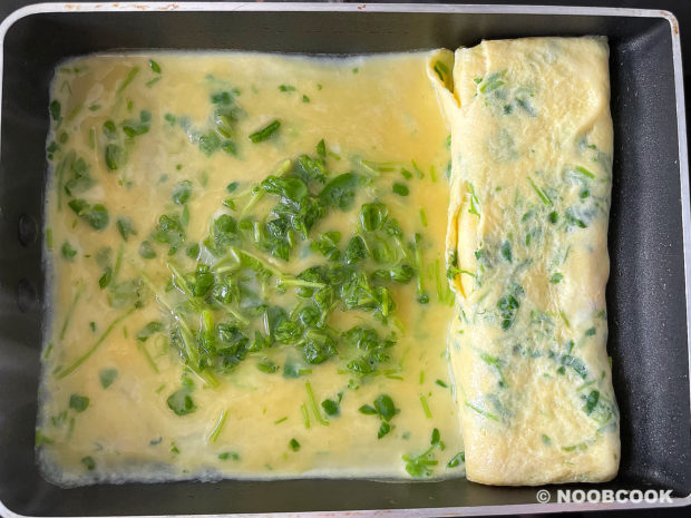 Pea Shoots Tamagoyaki (Step by Step)