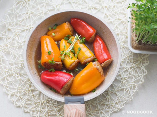 Simmered Stuffed Peppers Recipe