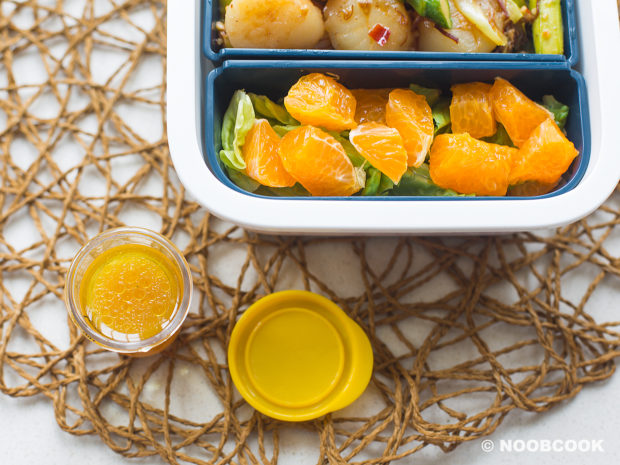 XO Sauce Asparagus & Scallops Lunch Box (Orange Salad Dressing)