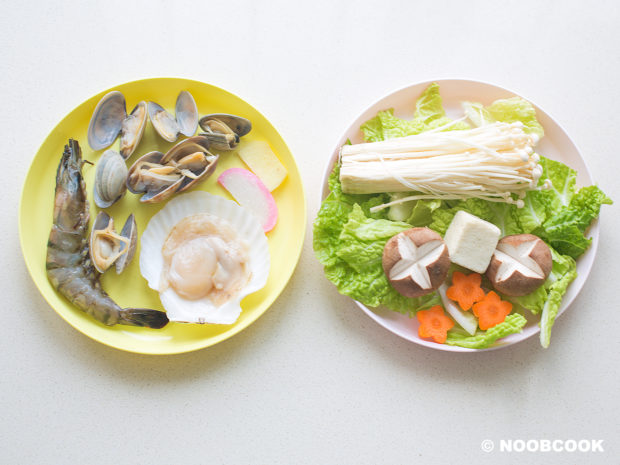 Seafood Udon Noodle Soup Ingredients