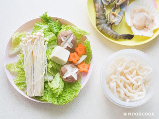Seafood Udon Noodle Soup Ingredients