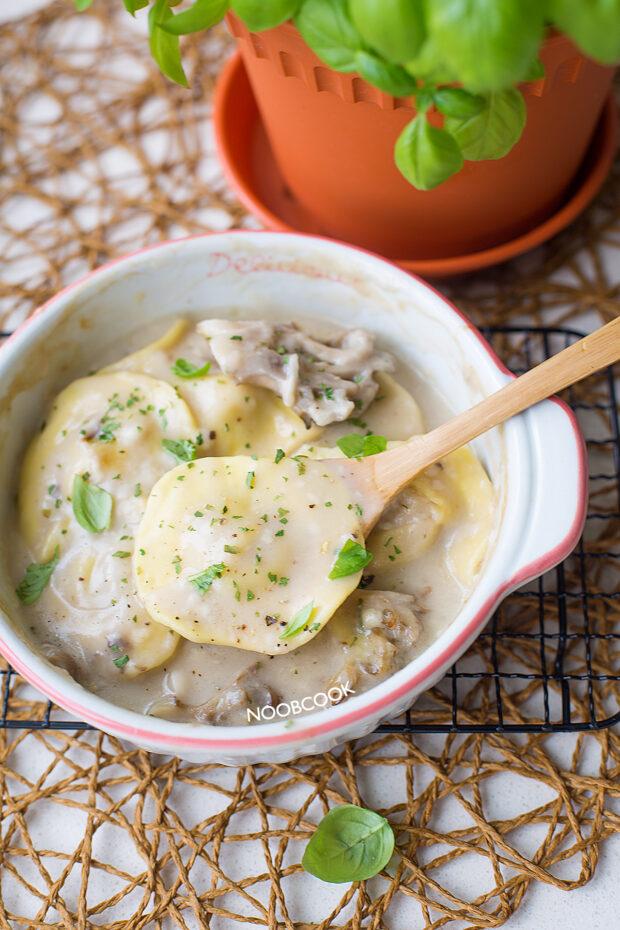 Baked Cream of Mushroom Ravioli Recipe